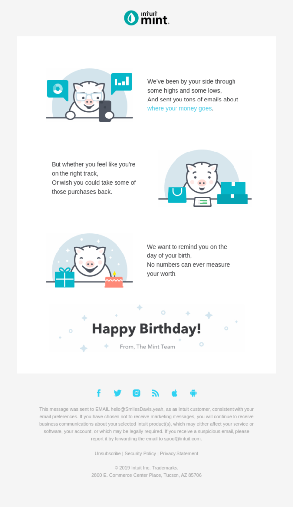 Birthday email sent to client by accounting firm