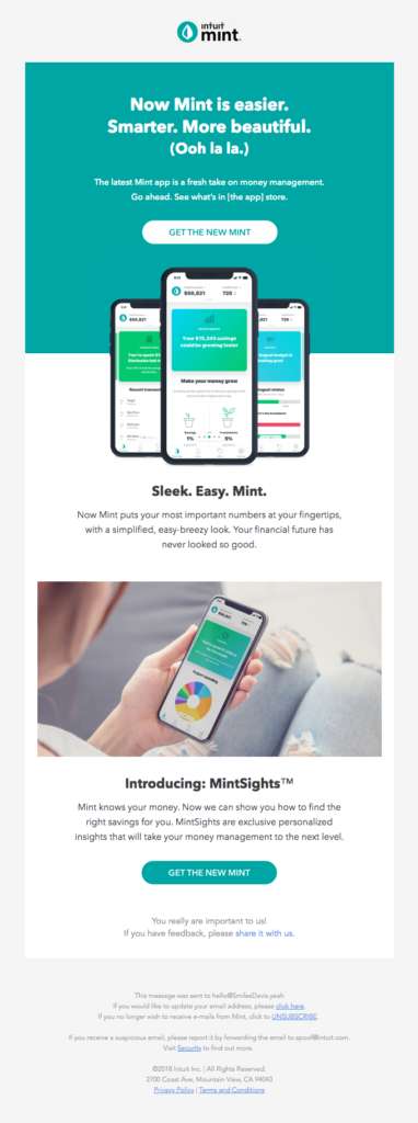 Email template for accountants with a create CTA and design