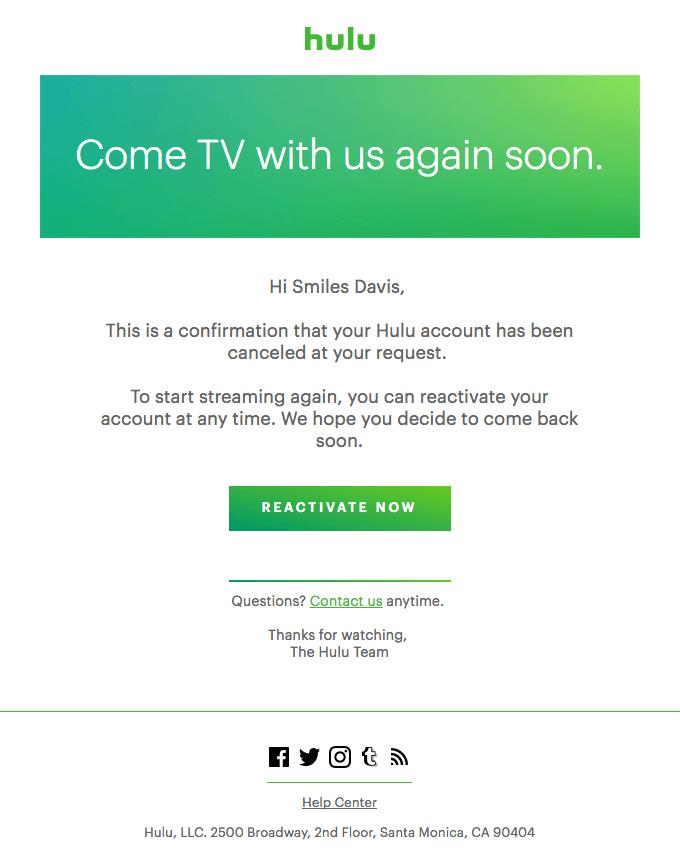 Hulu Confirm user cancelations