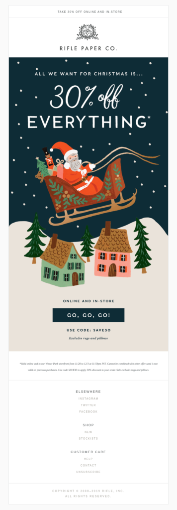Christmas newsletter email design example