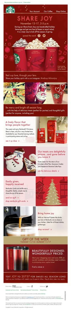 Share Joy, Starbucks holiday promotion email example