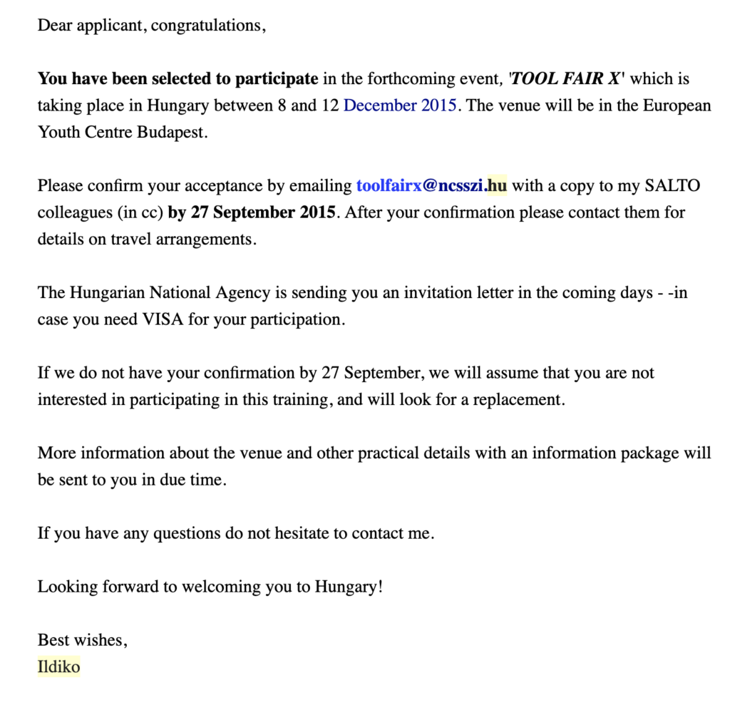 Registration confirmation email for a conference