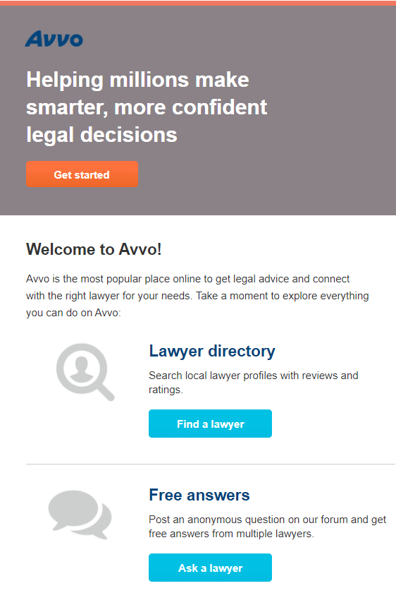 Confirmation email example for law firms to engage new prospects and welcome them