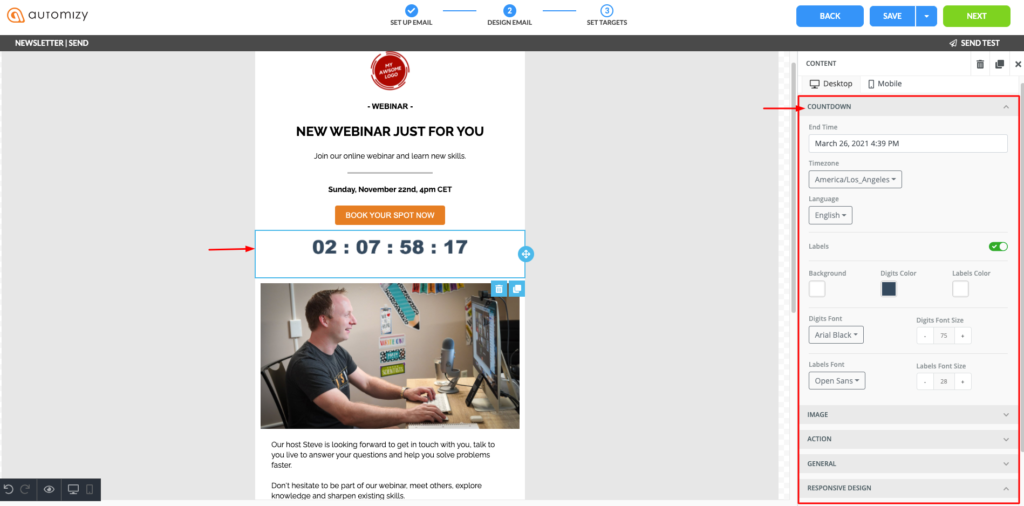 Countdown timer in email campaign created in Automizy email software