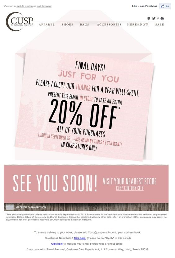 Cusp customer appreciation email sample