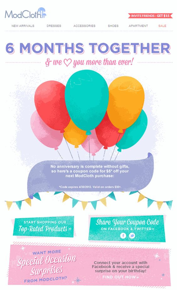 ModCloth re-engagement email template