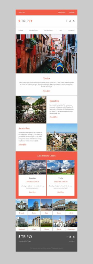 TRIPLY blog typpe feel travel email design