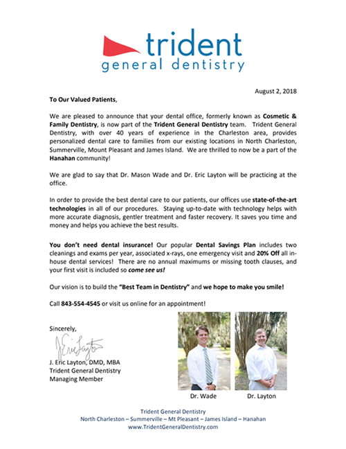 Email marketing for dentists example to share updates with patients