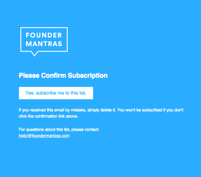 Founder Mantras Double opt-in confirmation email sample