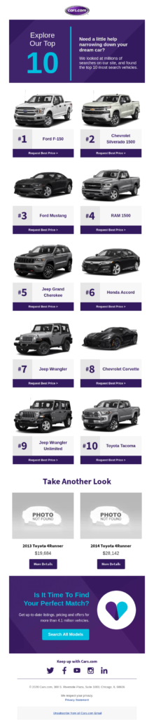 Car dealership email newsletter design featuring multiple products