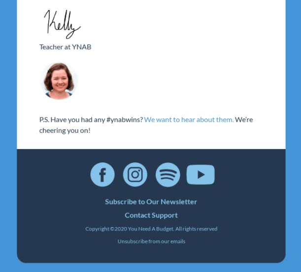 Email signature template with a teacher image and social buttons