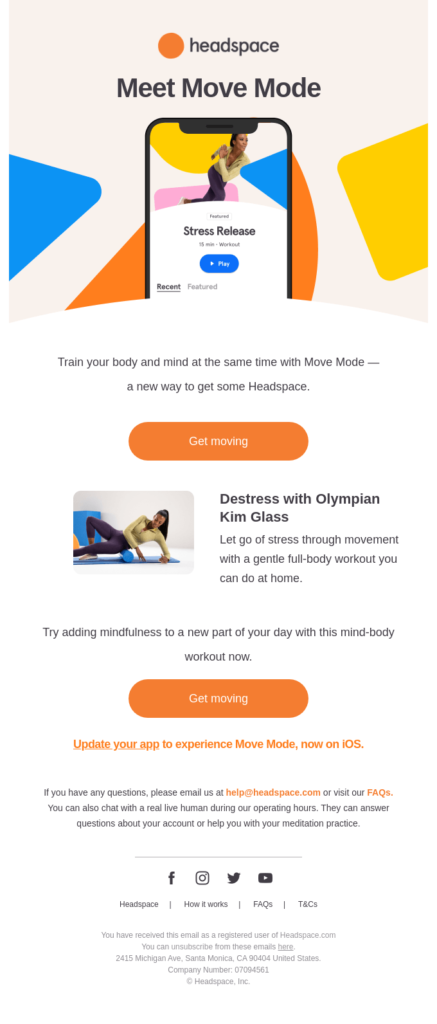 mobile app fitness email design example