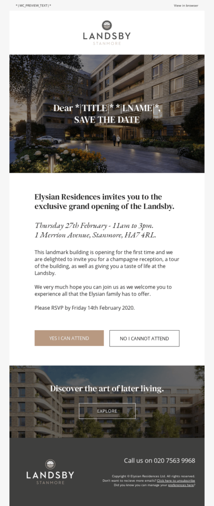 Event announcement invitation email