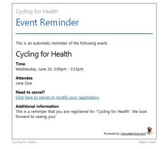 Event registration reminder email