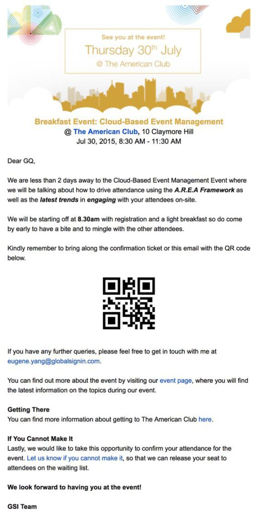 QR code event reminder example