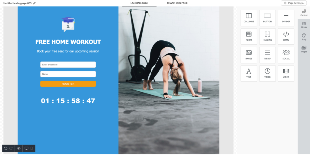 Fitness landing page example in Automizy