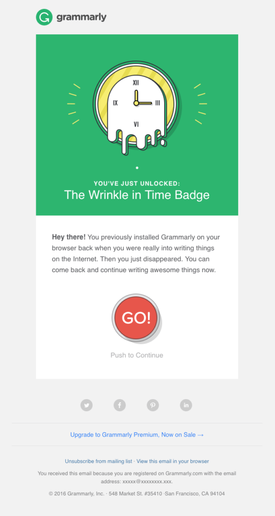 Grammarly re-engagement email design