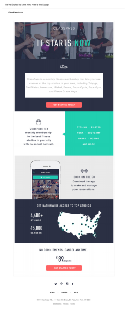 fitness email template to promote memberships and share locations