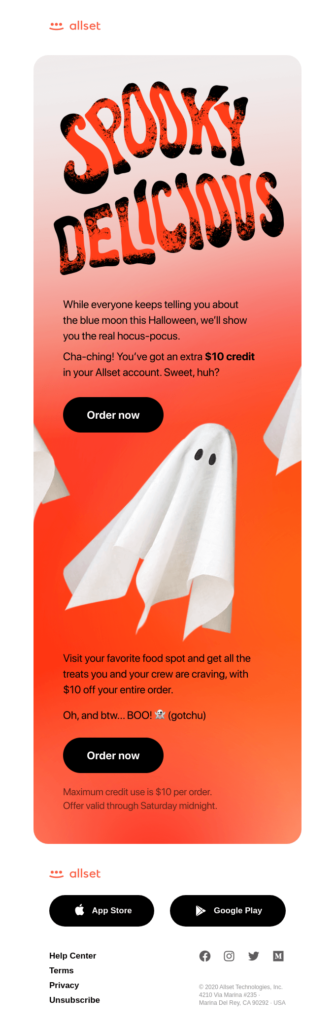 Halloween email newsletter creative design example
