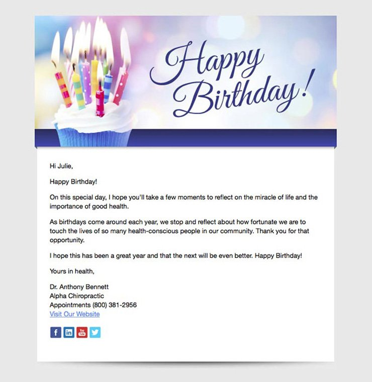 healthcare email template sent to patients on their birthday