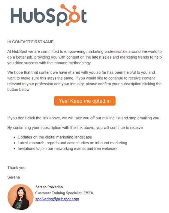 Hubspot B2B re-engagement email example