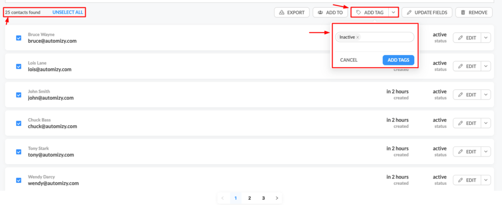Tag inactive contacts to identify your cold subscribers