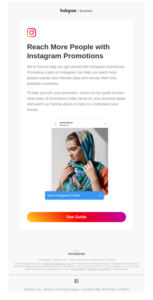 Instagram email newsletter example