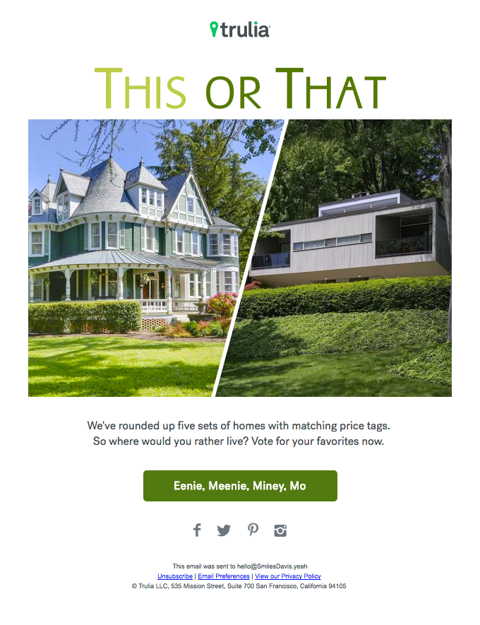 Interactive real estate email campaign idea