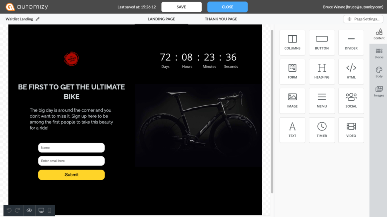 Screenshot of the landing page builder in Automizy