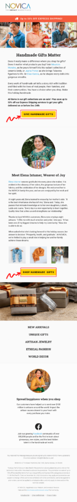 A lengthy email design sample that includes multiple CTAs to increase CTR