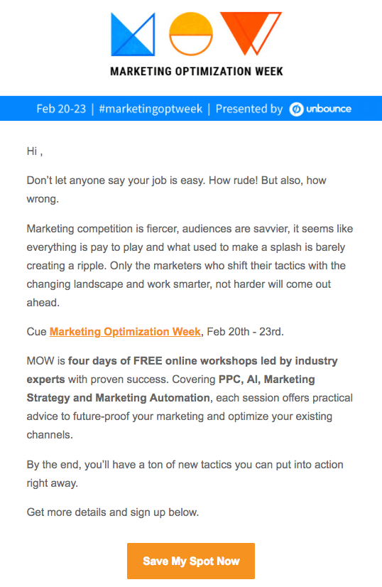 Unbounce webinar email sample