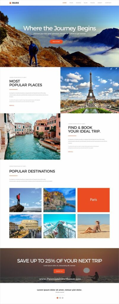 """""""Where the Journey Begins"""" travel email digest template"""