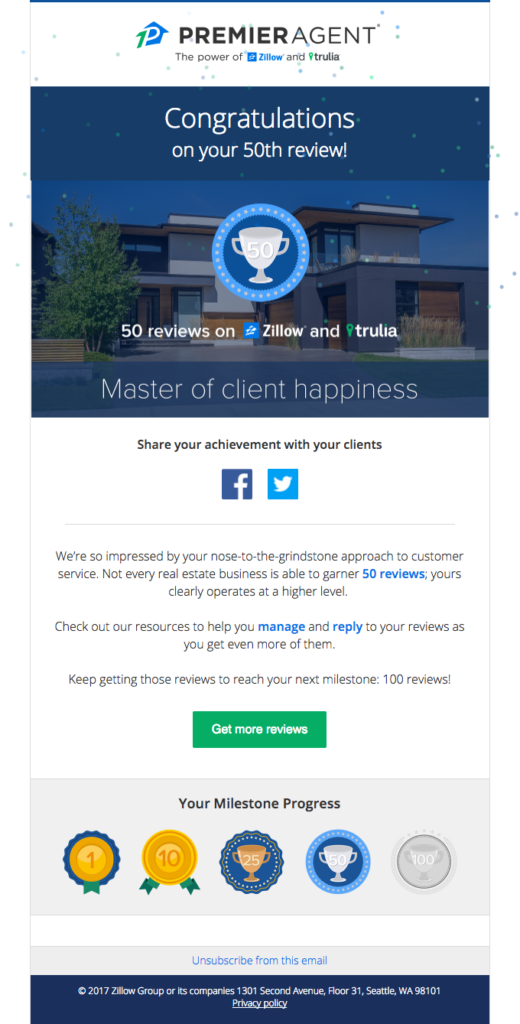 Gamified real estate email idea to increase engagement for users with milestones achieved