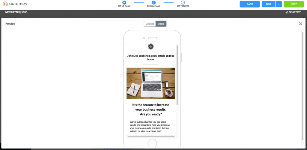 An illustration on how to preview email design on mobile device to check for responsiveness