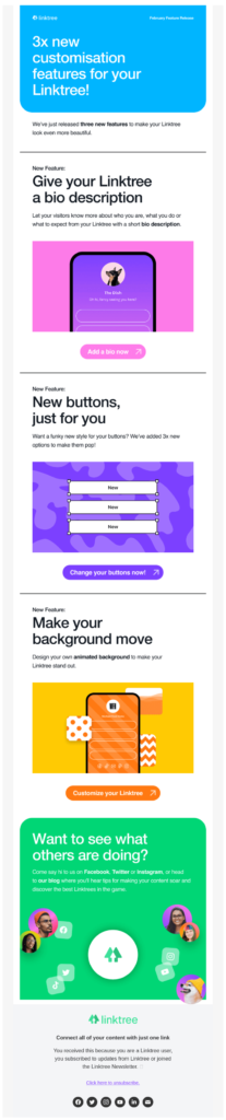 Announcement email to introduce a new feature to users
