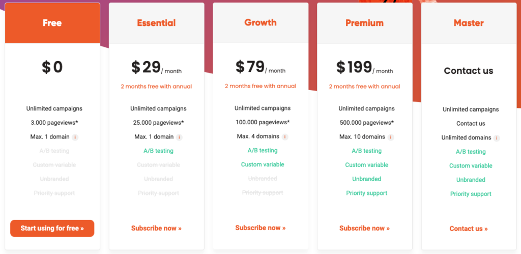 OptiMonk pricing table