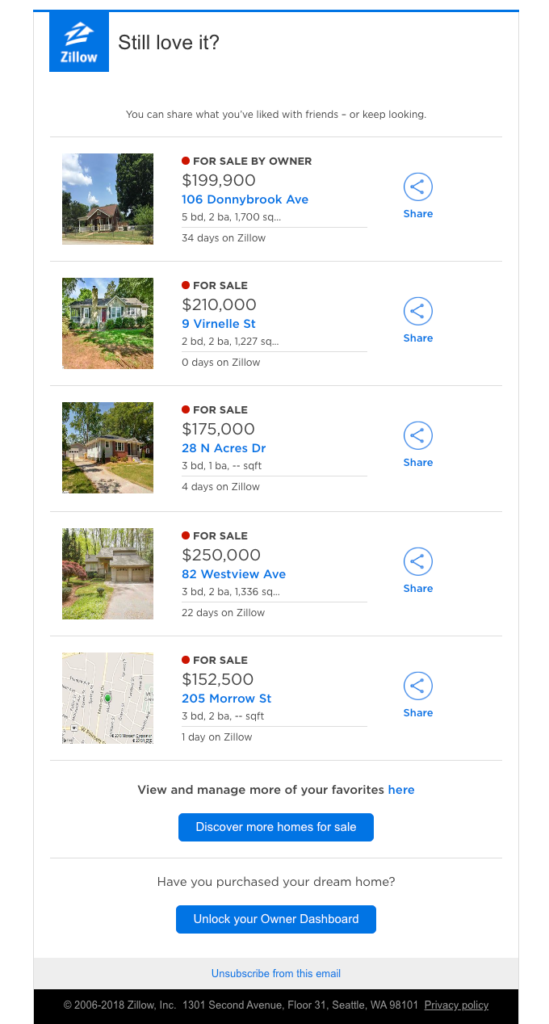 Personalized real estate email example with listings that matches user interests
