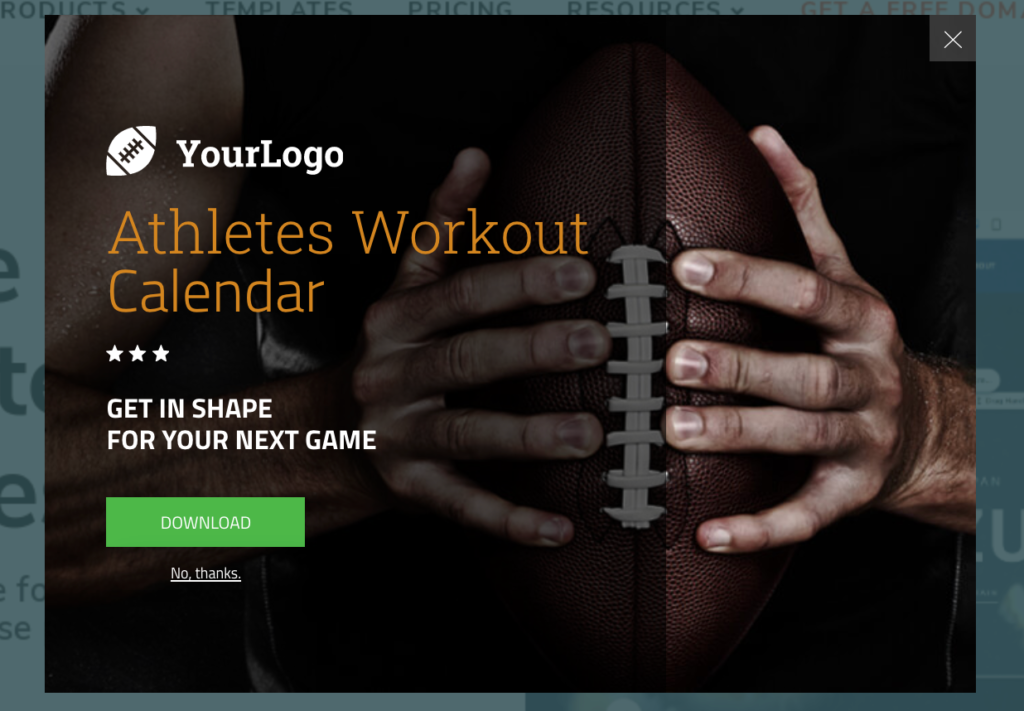 onsite retargeting popup to grow fitness email list