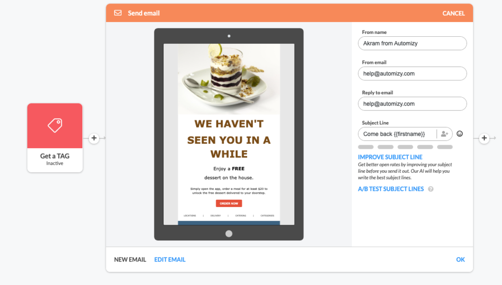 Re-engagement email template preview