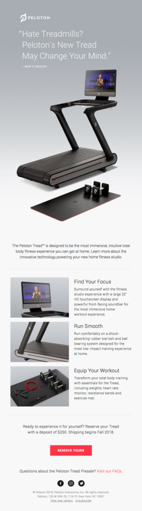 Peloton fitness product announcement email template