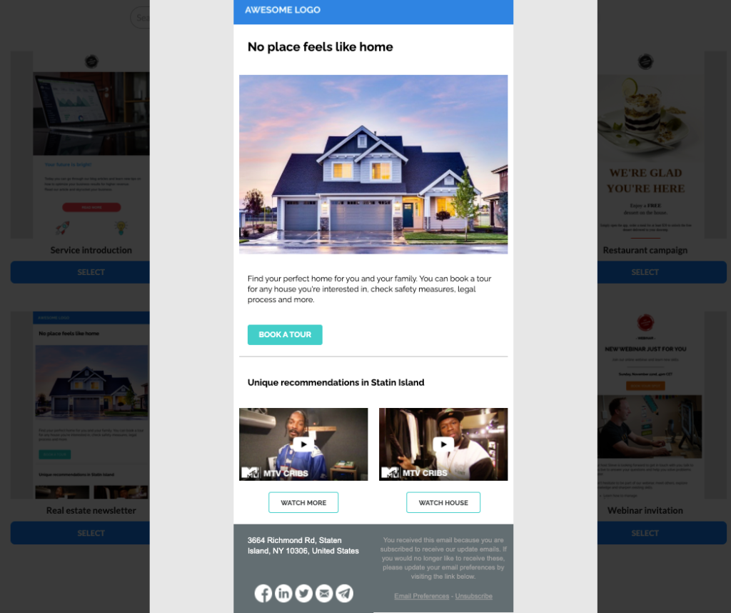 Real estate email template that is responsive and customizable