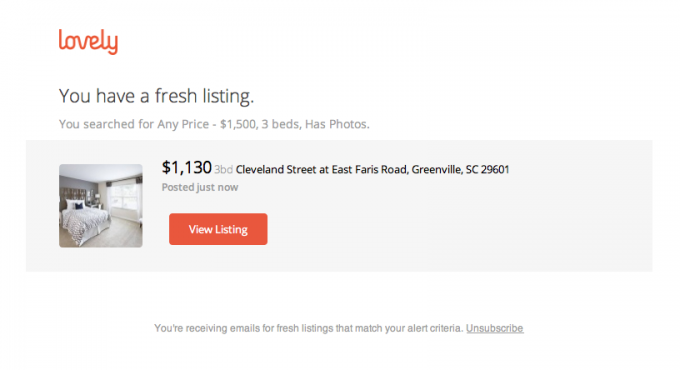 Template for real estate email that's used to notify users about new listing