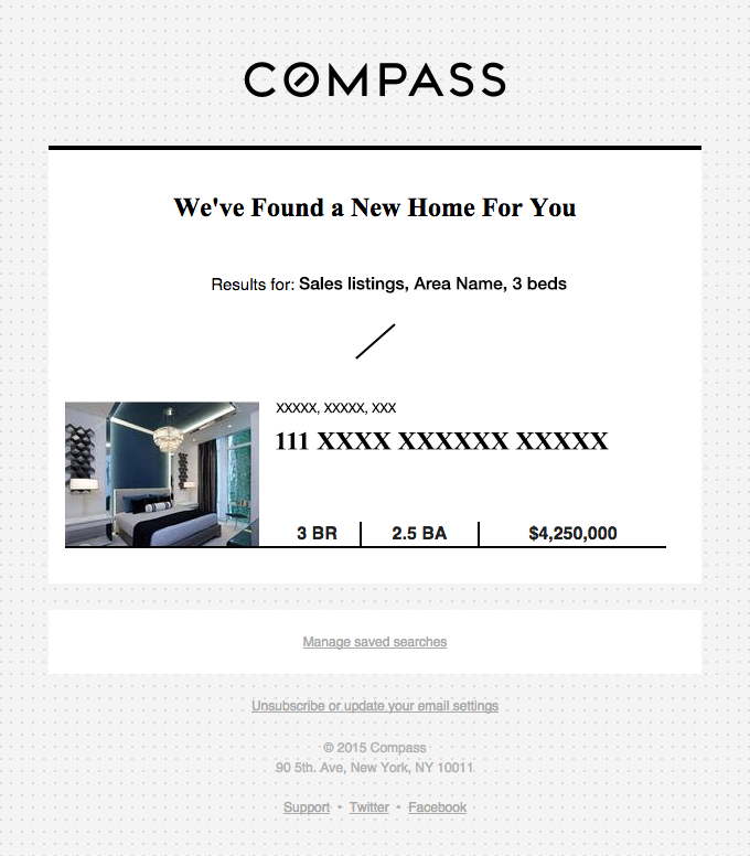 Personalized real estate email example