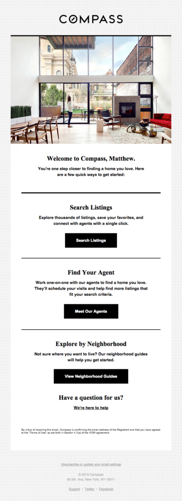 Real estate email design send as a welcome email to onboard new users and share important steps to complete