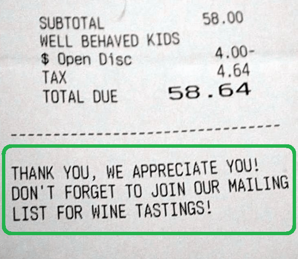 Thank you, we appreciate you! Don't forget to join our mailing list for wine tasting!