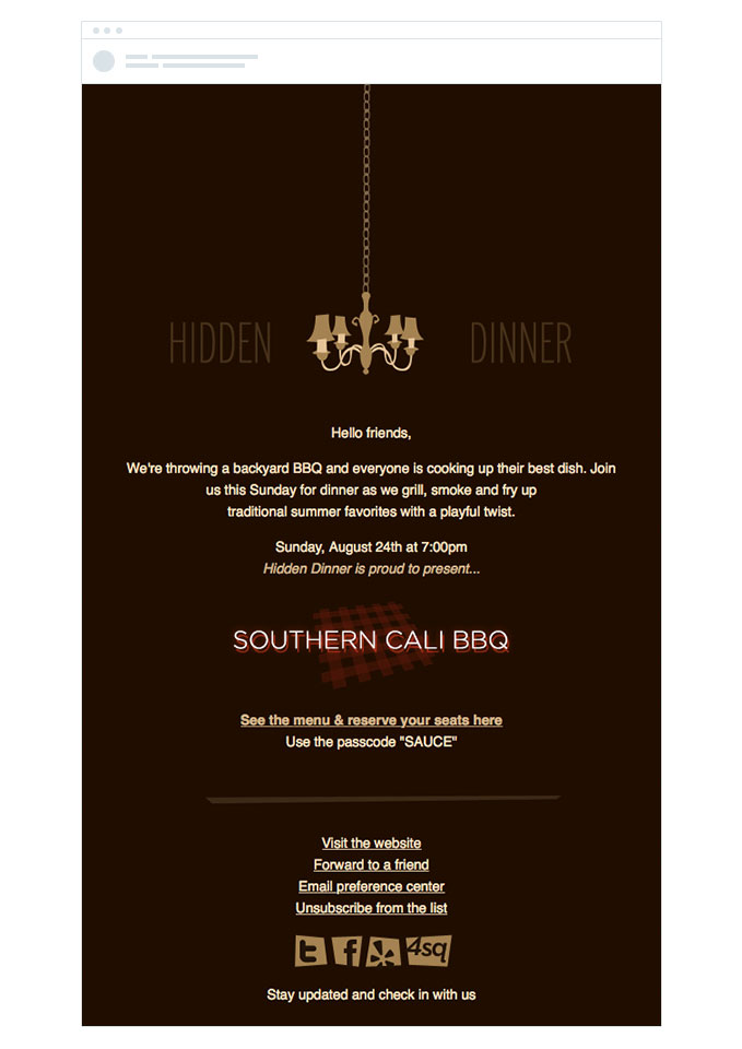 hidden dinner restaurant email invitation template