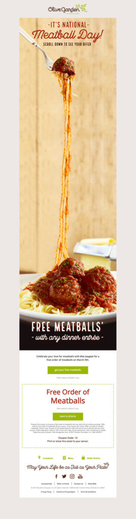 """It's national meatball day"" Olive garden restaurant email design"