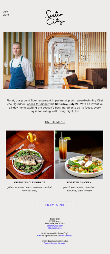 Sister City Chef and menu introduction email sample