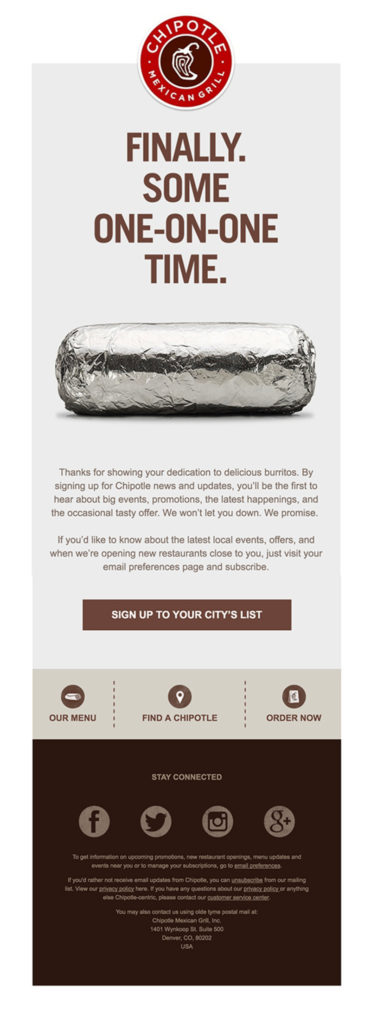 "Chipotle ""finally some one-on-one time"" restaurant customer appreciation email sample"