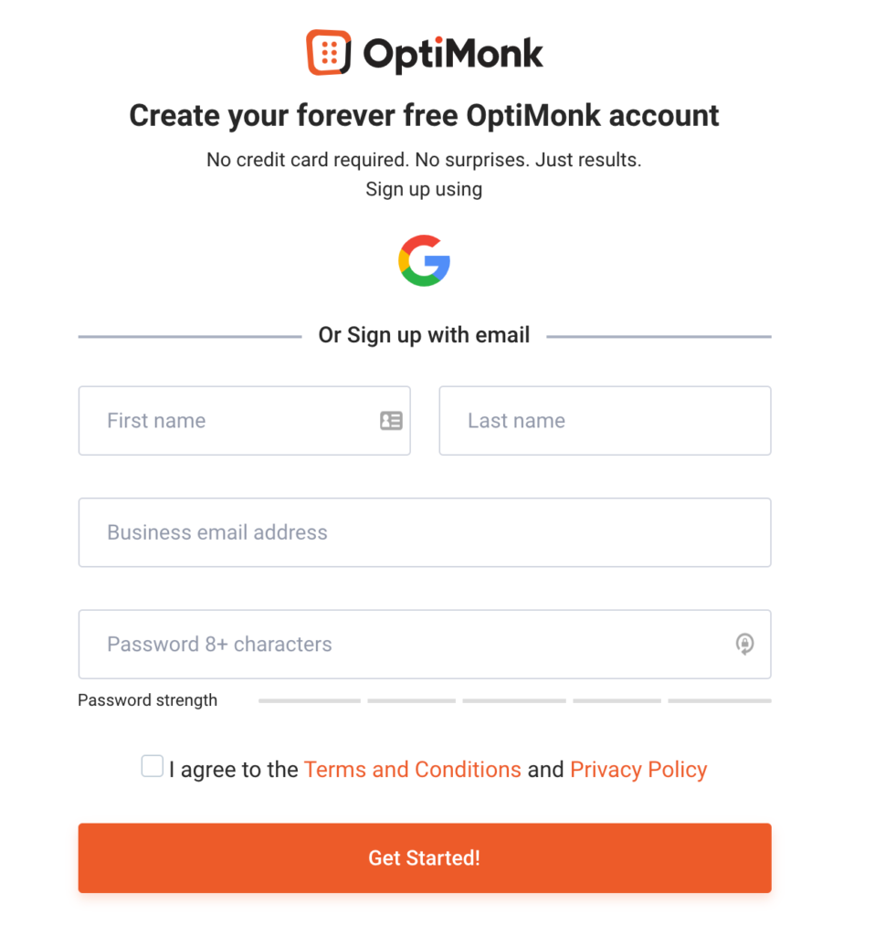 SaaS short sign up form from OptiMonk